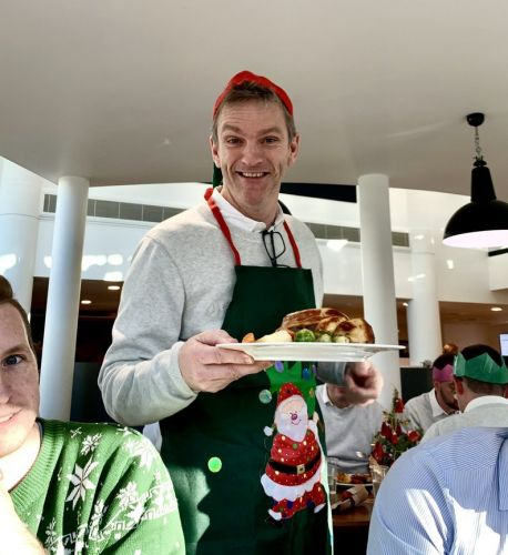 Look who's serving a Christmas lunch at Brackley!