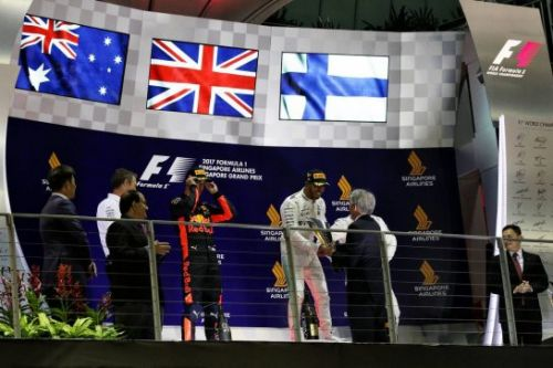 Photos:  le podium du Grand Prix de Singapour