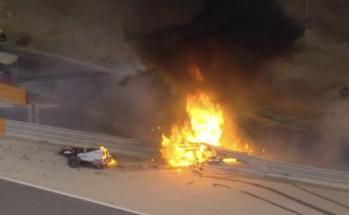 Grosjean survives fiery crash at start of Bahrain GP!