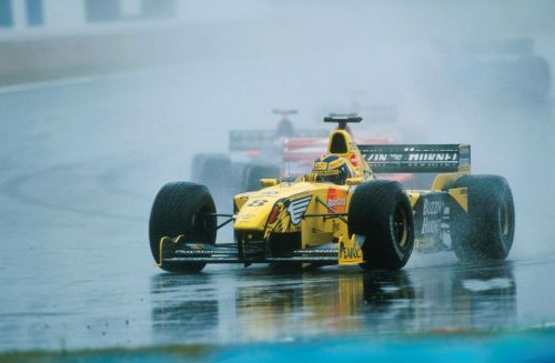 A wet but winning race for Frentzen and Jordan