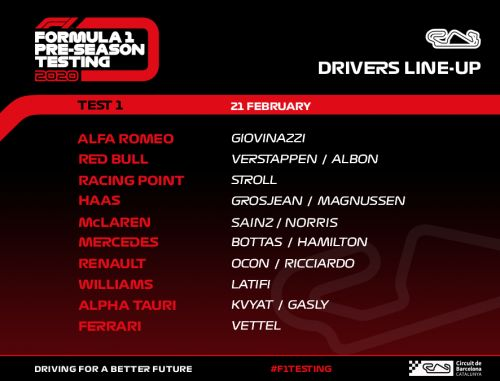 Driver line-up fro Day 3 of pre-season testing