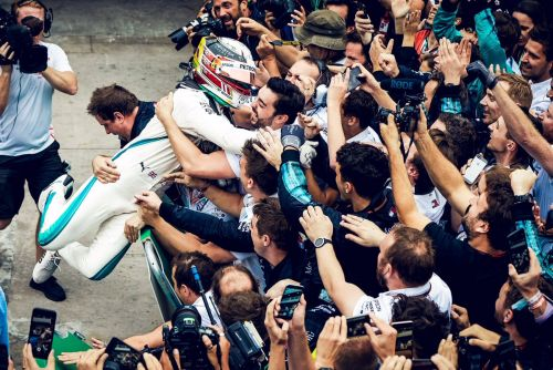 Mercedes celebrations break down the barriers. literally!